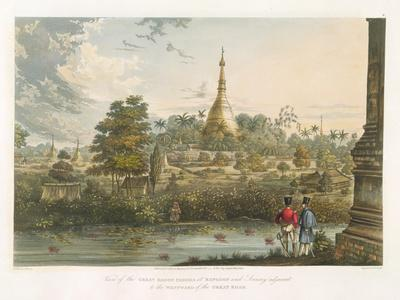 View of the Great Dagon Pagoda at Rangoon from the West, Engraved by Henry Pyall (1795-1833)…