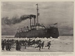 The New Russian Icebreaker, the S S Ermak at Work at Cronstadt by Joseph Nash