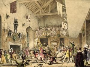 Twelfth Night Revels in the Great Hall, Haddon Hall, Architecture of the Middle Ages, 1838 by Joseph Nash