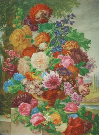 Flowers in a Landscape by Joseph Nigg