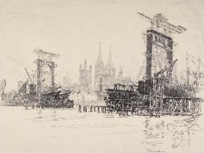 Building the Bridge at Cologne, 1914 by Joseph Pennell