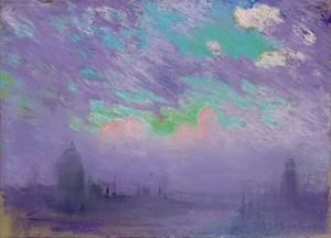 Green, Blue and Purple (View of London) by Joseph Pennell