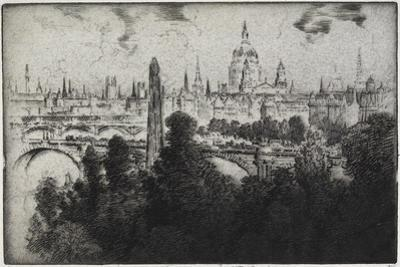 London over Embankment Gardens, 1906 by Joseph Pennell
