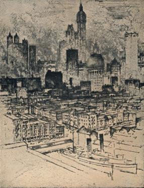 'New York From Brooklyn Bridge', c1908 by Joseph Pennell