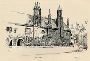 'Old Charterhouse: Exterior Façade of Washhouse Court, with the Inner Gateway', 1886 by Joseph Pennell