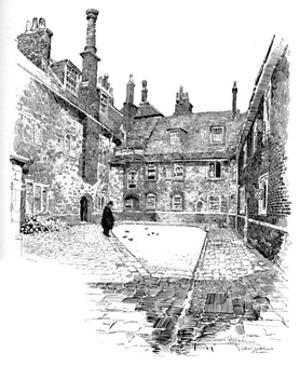 'Old Charterhouse: In Washhouse Court', 1886 by Joseph Pennell
