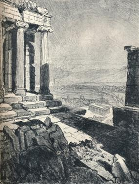 'Temple of Theseus from the Acropolis', c1913 by Joseph Pennell