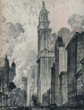 'The Broadway and the Woolworth Building, New York', 1912 by Joseph Pennell