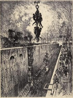 The End of the Day, Gatun Lock, 1912 by Joseph Pennell