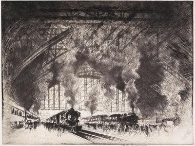 The Trains That Come, and the Trains That Go, Pennsylvania Railroad, Philadelphia, 1919 by Joseph Pennell