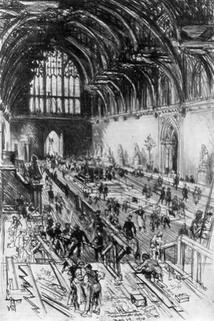 The Workmen in Possession, Westminster Hall, London, 1910 by Joseph Pennell