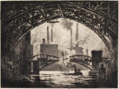 Under the Bridges, Chicago, 1910 by Joseph Pennell