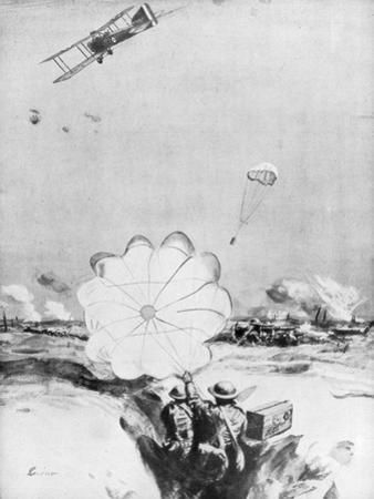 Aeroplane Supplying Ammunition to the British Front Line, World War I, 1914-1918