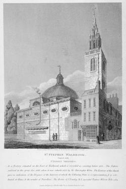 North-West View of the Church of St Stephen Walbrook, City of London, 1813 by Joseph Skelton