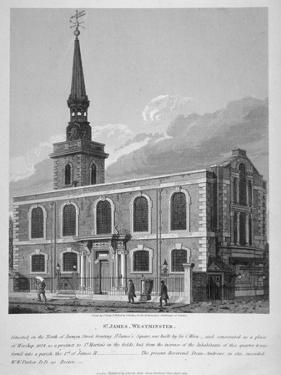 View of St James's Church, Piccadilly from Jermyn Street, London, 1814 by Joseph Skelton
