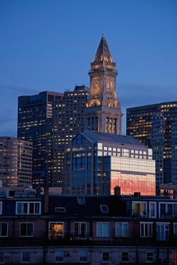 Boston Skyline at Sunset Features Commerce House Tower, Boston, Ma. by Joseph Sohm