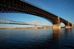 Eads Bridge on the Mississippi River, St. Louis, Missouri by Joseph Sohm