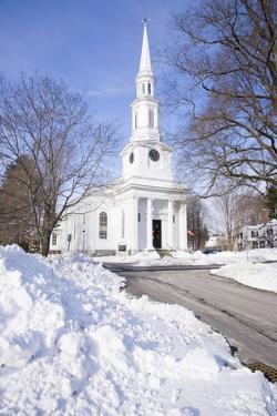 New England Church with Snow by Joseph Sohm