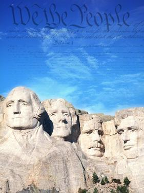 Preamble to US Constitution Above Mount Rushmore by Joseph Sohm