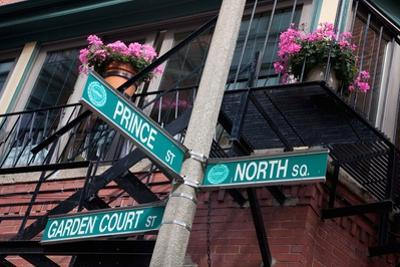 Street Signs for Intersection of Prince, North and Garden Court, Historic North End, Boston, Ma. by Joseph Sohm