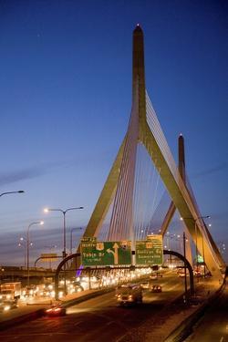 The Leonard P. Zakim Bunker Hill Bridge at Dusk by Joseph Sohm