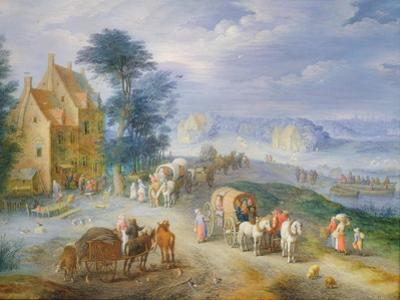 Landscape with Peasants, Carts and a Ferry