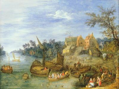 River Landscape with Boats by a Village and Figures on the Riverbank