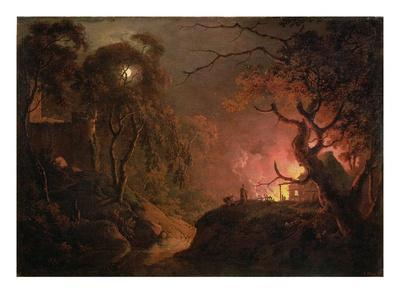 A Cottage on Fire at Night, c.1785-93