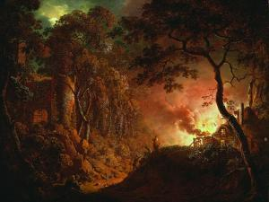Cottage on Fire, C.1786-87 by Joseph Wright of Derby