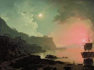 Vesuvius from Posillipo, C.1788 (Oil on Panel) by Joseph Wright Of Derby