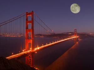 Moonrise above the Golden Gate Bridge, Marin, California by Josh Anon