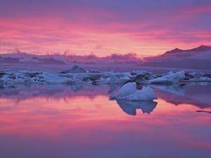 Sunset over the Jokulsarlon Glacier Lagoon, Hofn, Iceland by Josh Anon