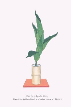 Haran (Five Aspidistra Leaves) In Bamboo Vase by Josiah Conder