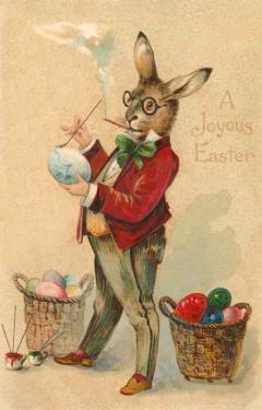 Joyous Easter, Spectacled Rabbit Painting Egg