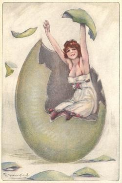 Joyous Woman in Cracked Green Egg