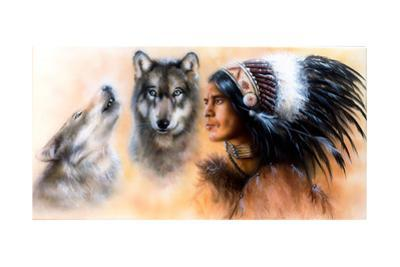 Animals Wolf and Portrait of American Indian in National Dress by JozefArt