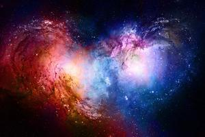 Nebula, Cosmic Space and Stars, Blue Cosmic Abstract Background. Elements of this Image Furnished B by JozefArt