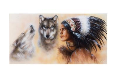 Beautiful Airbrush Painting of an Young Indian Warrior Accompani by jozefklopacka