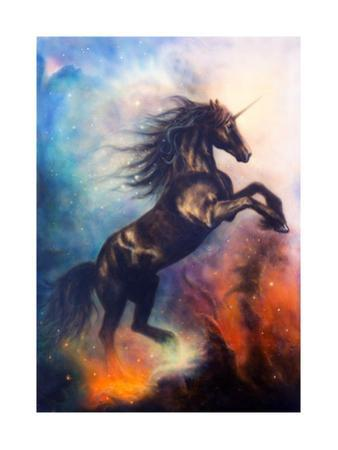 Painting of a Black Unicorn Dancing in Space by jozefklopacka