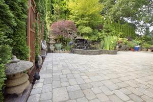 Backyard Asian Inspired Paver Patio Garden by jpldesigns