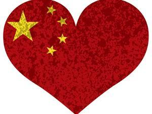 China Flag Heart Shape Textured by jpldesigns
