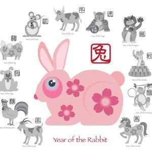 Chinese New Year Rabbit Color with Twelve Zodiacs Illustration by jpldesigns
