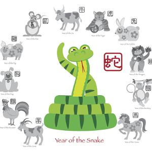 Chinese New Year Snake Color with Twelve Zodiacs Illustration by jpldesigns