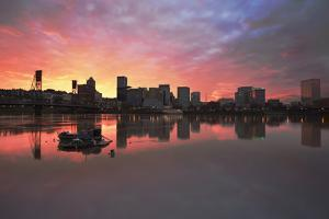 Colorful Sunset over Portland Downtown Waterfront by jpldesigns