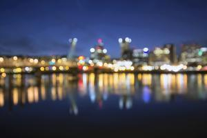 Out of Focus Portland City Skyline at Blue Hour by jpldesigns