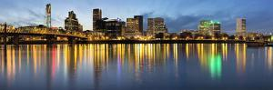Portland Downtown along Willamette River at Blue Hour by jpldesigns