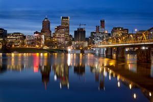 Portland Downtown City Skyline at Twilight by jpldesigns
