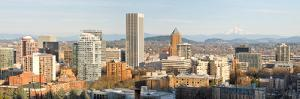 Portland Oregon Downtown Cityscape with Mount Hood by jpldesigns