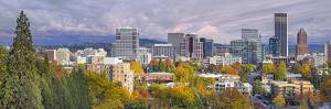 Portland Oregon Downtown Skyline with Mt Hood by jpldesigns