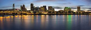 Portland Oregon Downtown Waterfront Skyline at Blue Hour by jpldesigns
